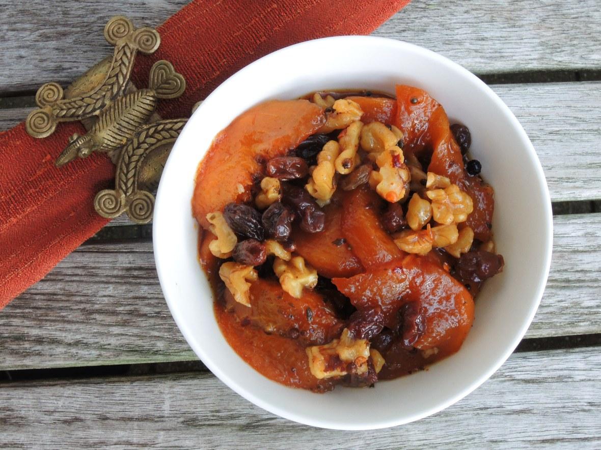 Condiments, chutneys, peach chutney with walnuts 1
