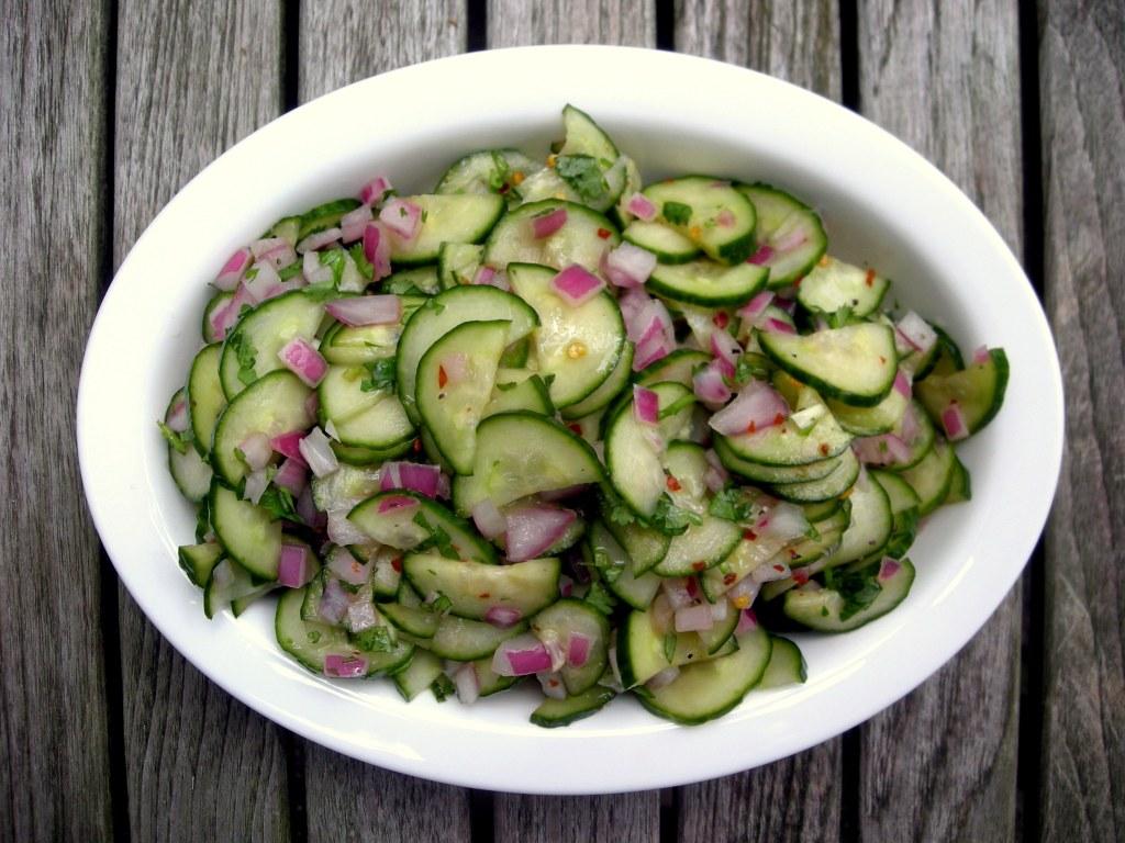 Salads, cucumber, Thai cucumber relish 1