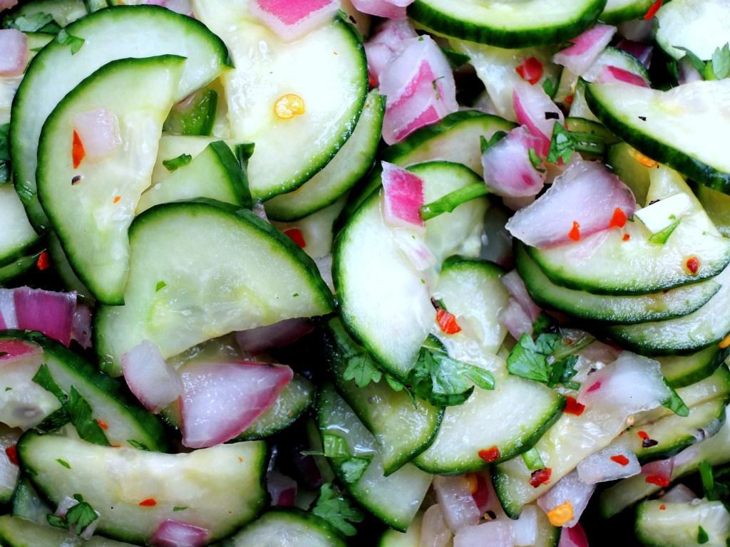 Salads, cucumber, Thai cucumber relish 2