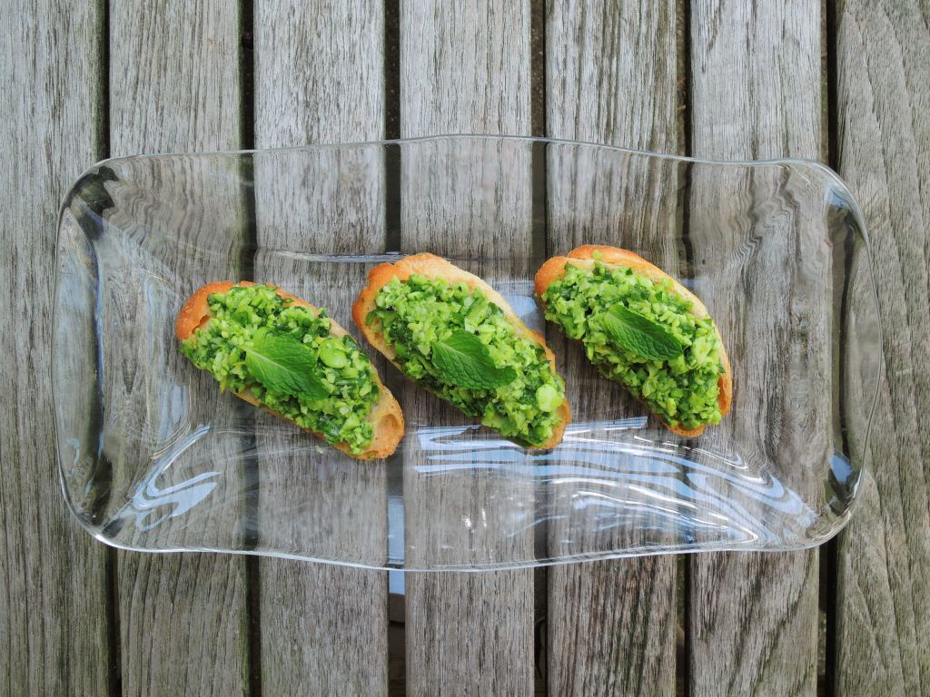 Appetizers, toasts, fava bean crostini 1