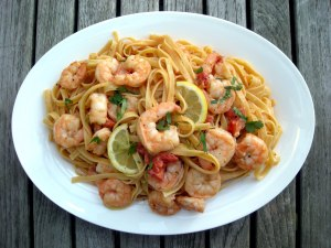 Pasta, fettuccine with shrimp and creamy tomato sauce 1