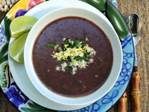 Soups, bean, black bean soup with rum 2