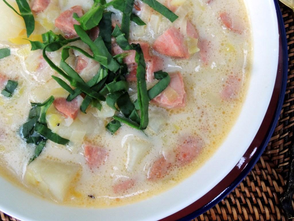 Soups, potato soup with kielbasa and spinach 3