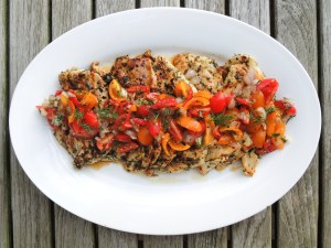 Chicken, sauteed chicken cutlets with dill tomato relish 1