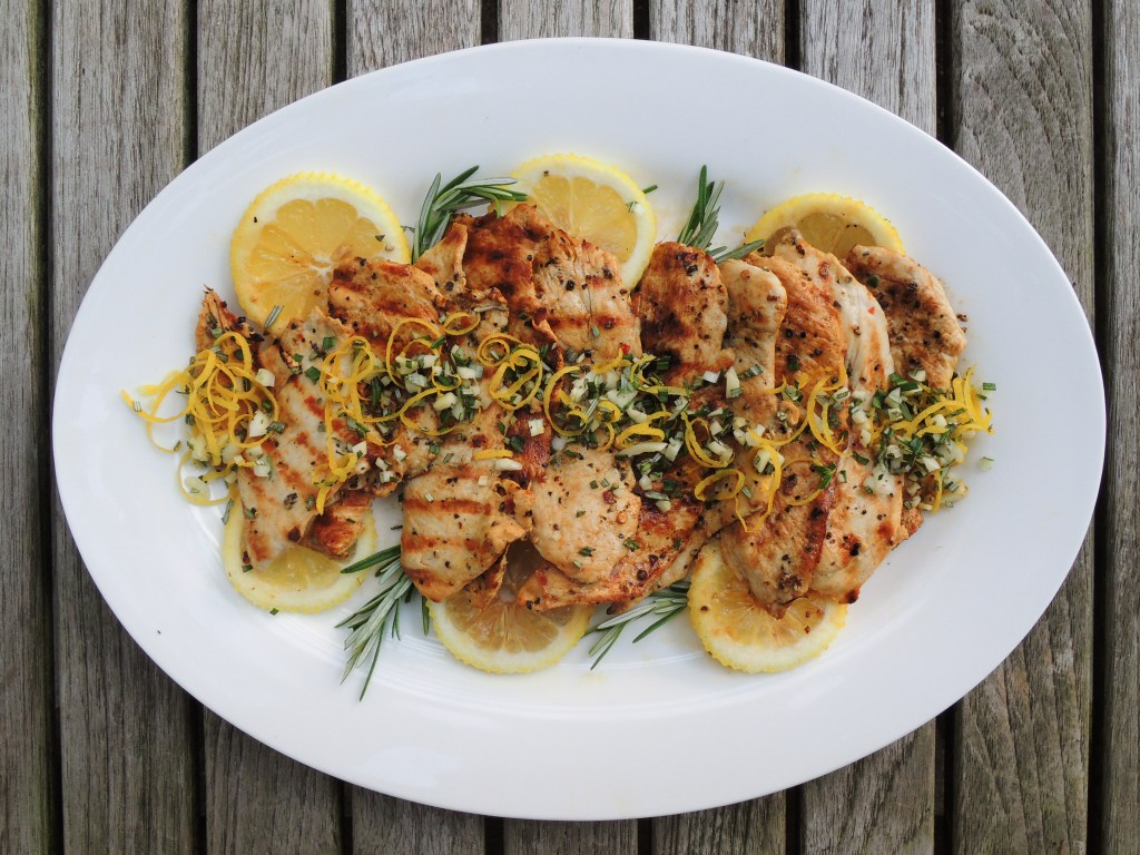 Chicken, sauteed chicken cutlets with garlic, lemon and rosemary 1