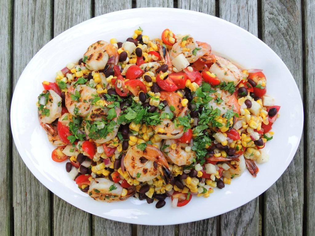 Salads, shrimp, Southwestern shrimp salad with grilled corn 1
