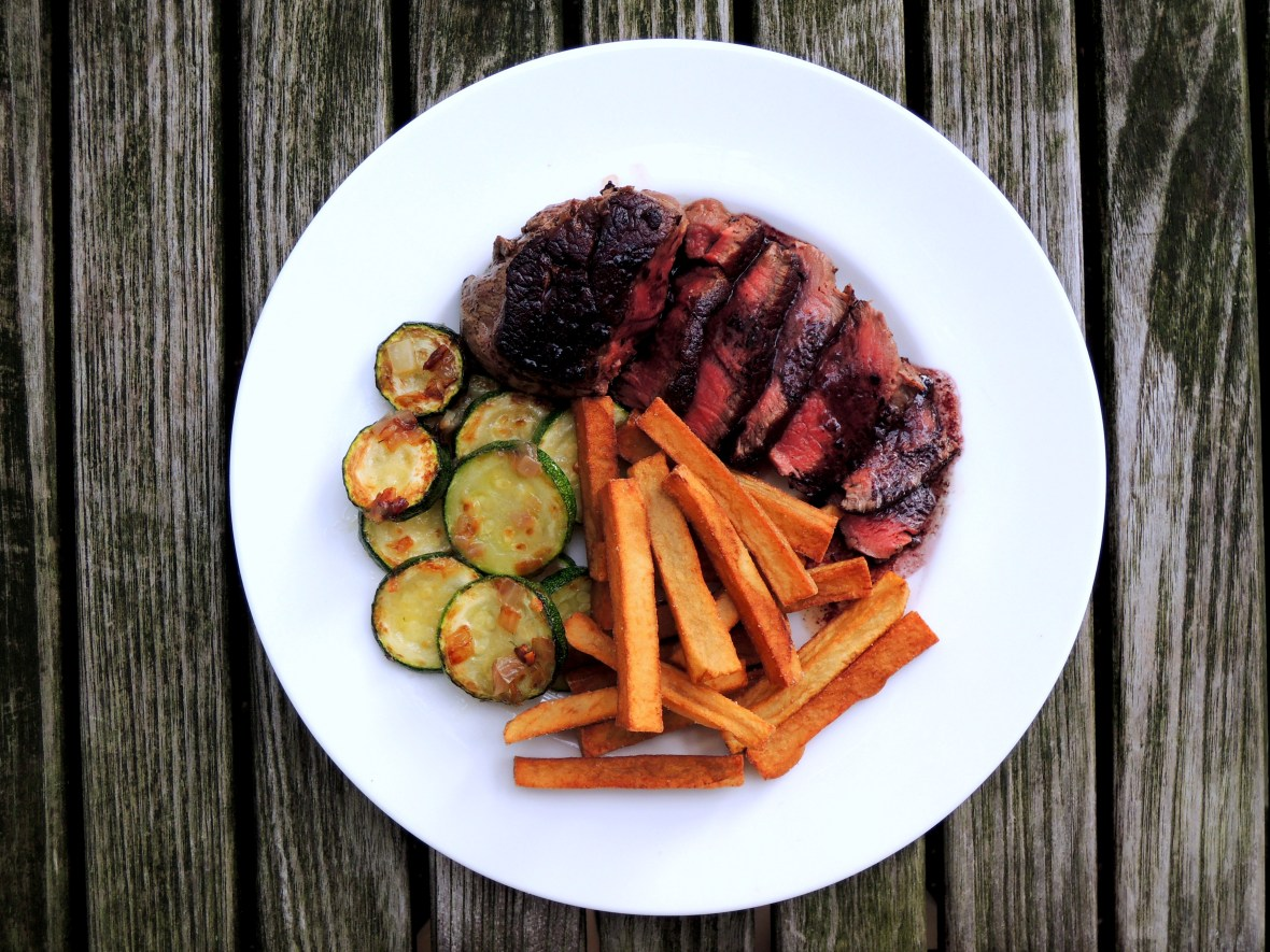 Beef, pan-seared filets mignon, steak frites 1