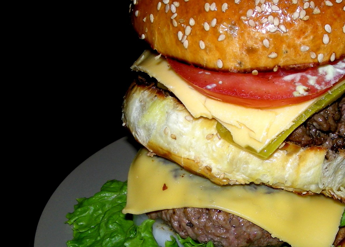 Burgers, basic hamburger (2 all-beef patties, special sauce, lettuce, cheese, pickle, onion on a sesame seed bun) 1