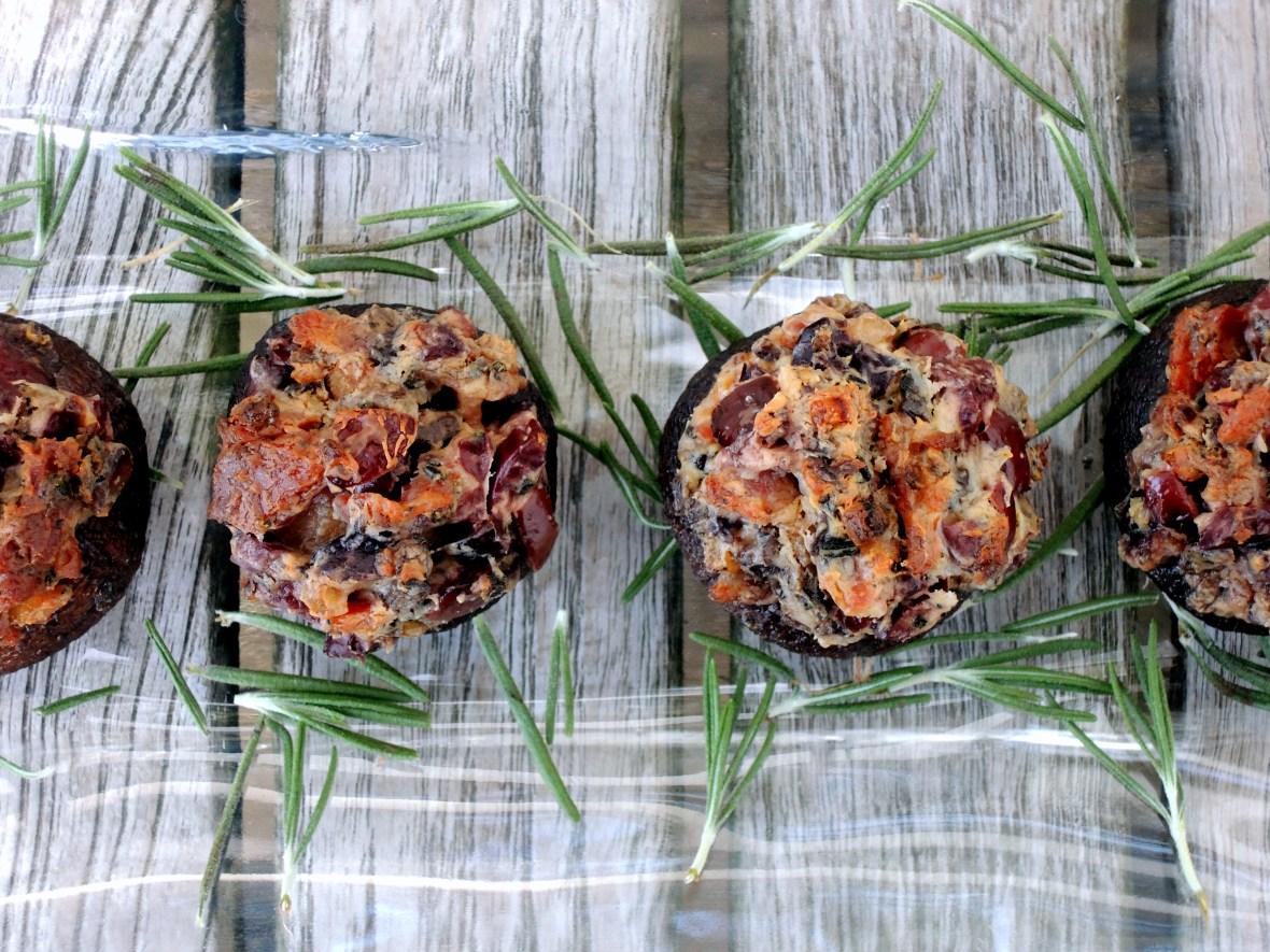Appetizers, mushrooms, bacon and kalamata stuffed mushroom caps 2