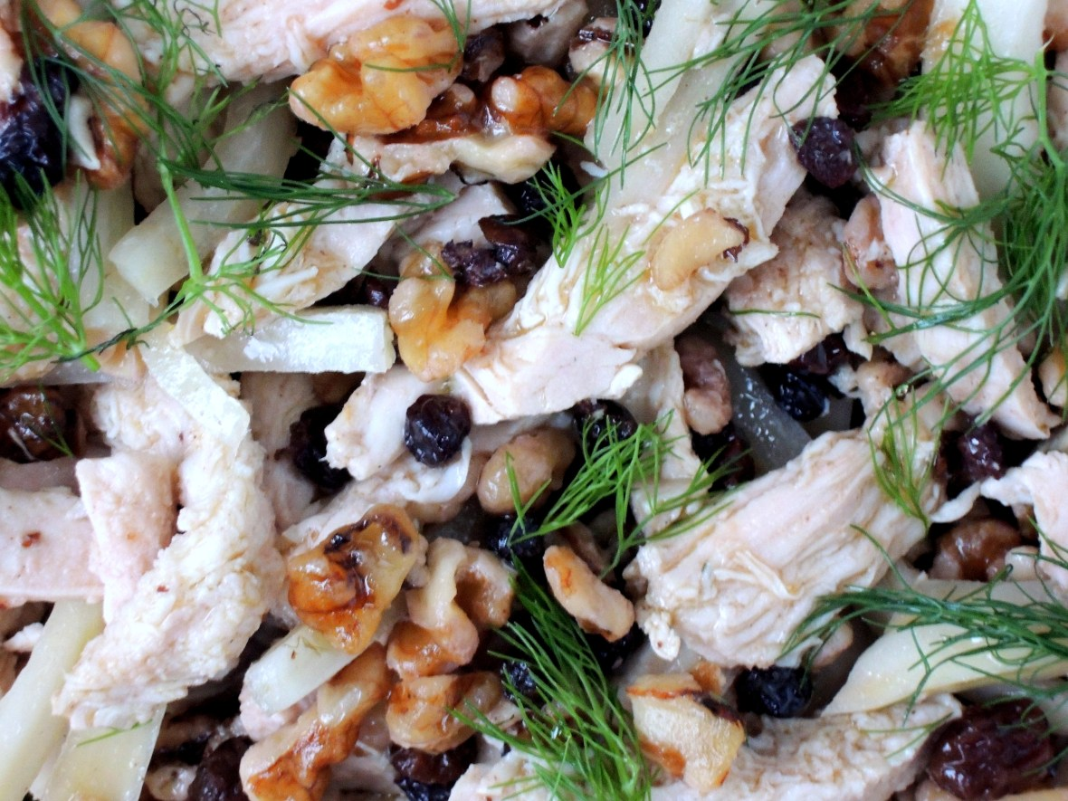 Salads, chicken salad with currants, fennel and walnuts 2