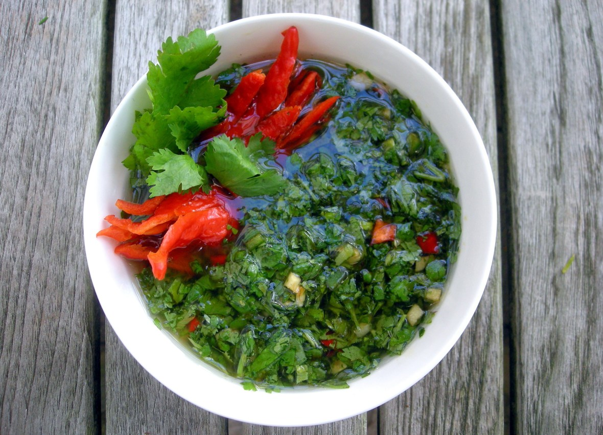 Condiments, herb sauces, Korean spicy cilantro sauce (for grilled steak) 1