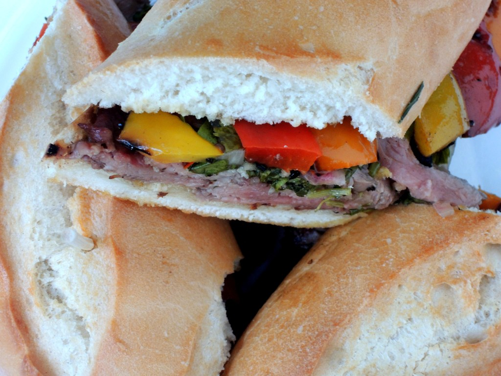 Sandwiches, grilled steak and roasted bell peppers with chimichurri sauce 2