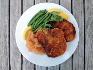 Pork, fried pork cutlets, Swiss breaded pork chops with applesauce 1