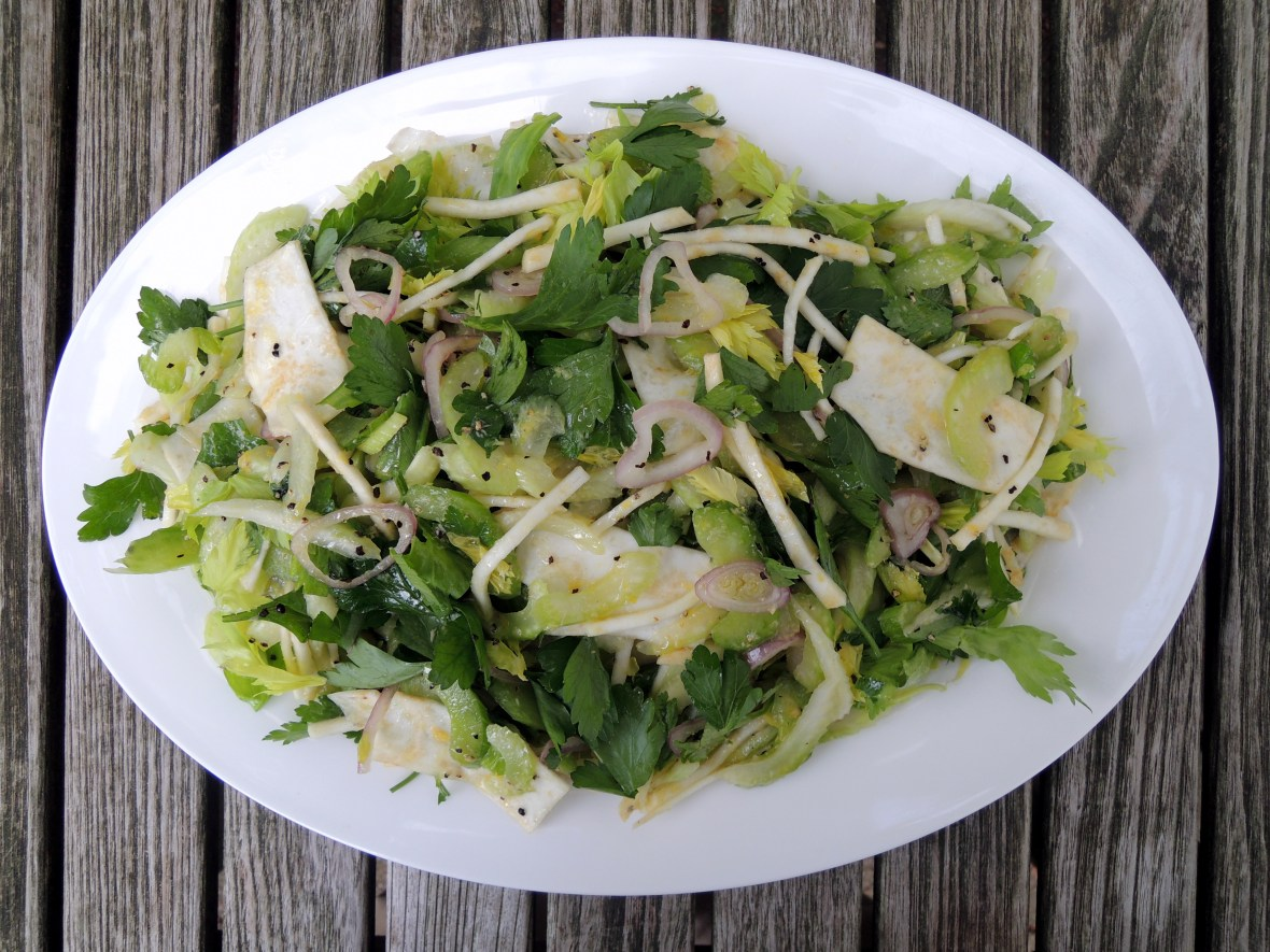 Salads, vegetable, celery salad with celery root and horseradish 1