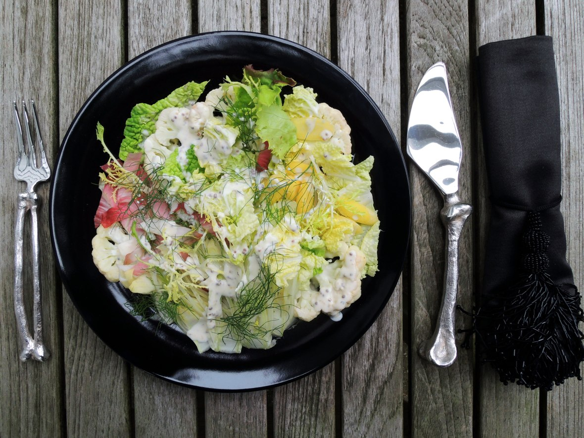 Salads, vegetable, Napa cabbage, cauliflower and endive salad (salade decomposee) 1