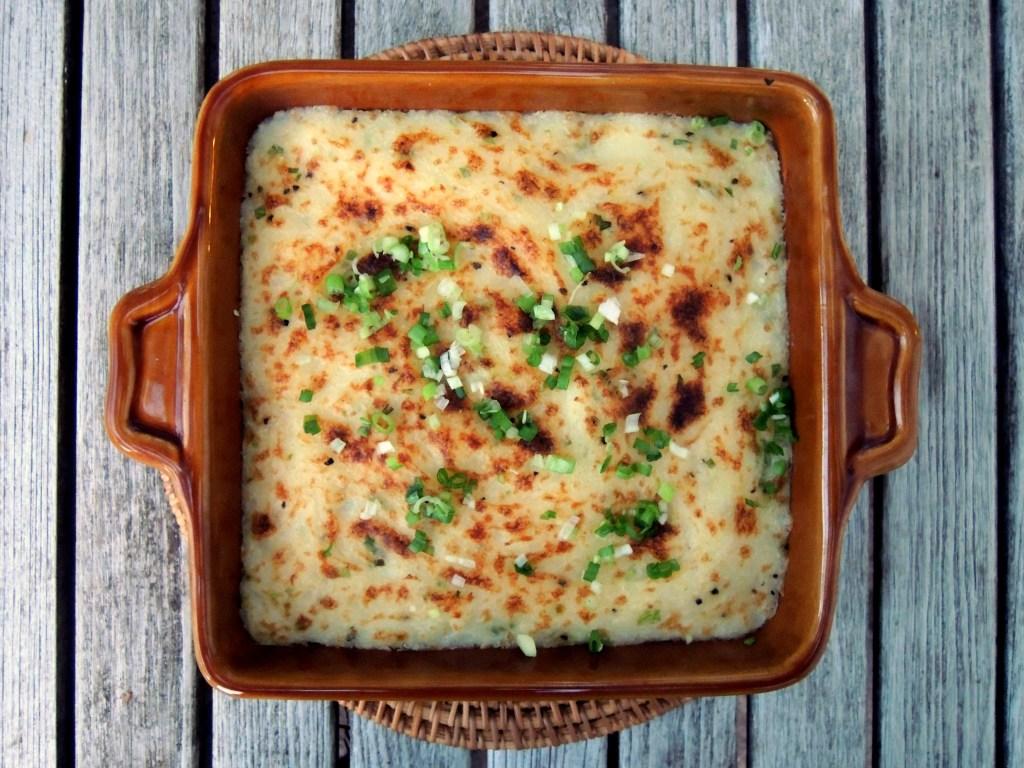 Vegetables, potato gratins, mashed potato and goat cheese gratin 1