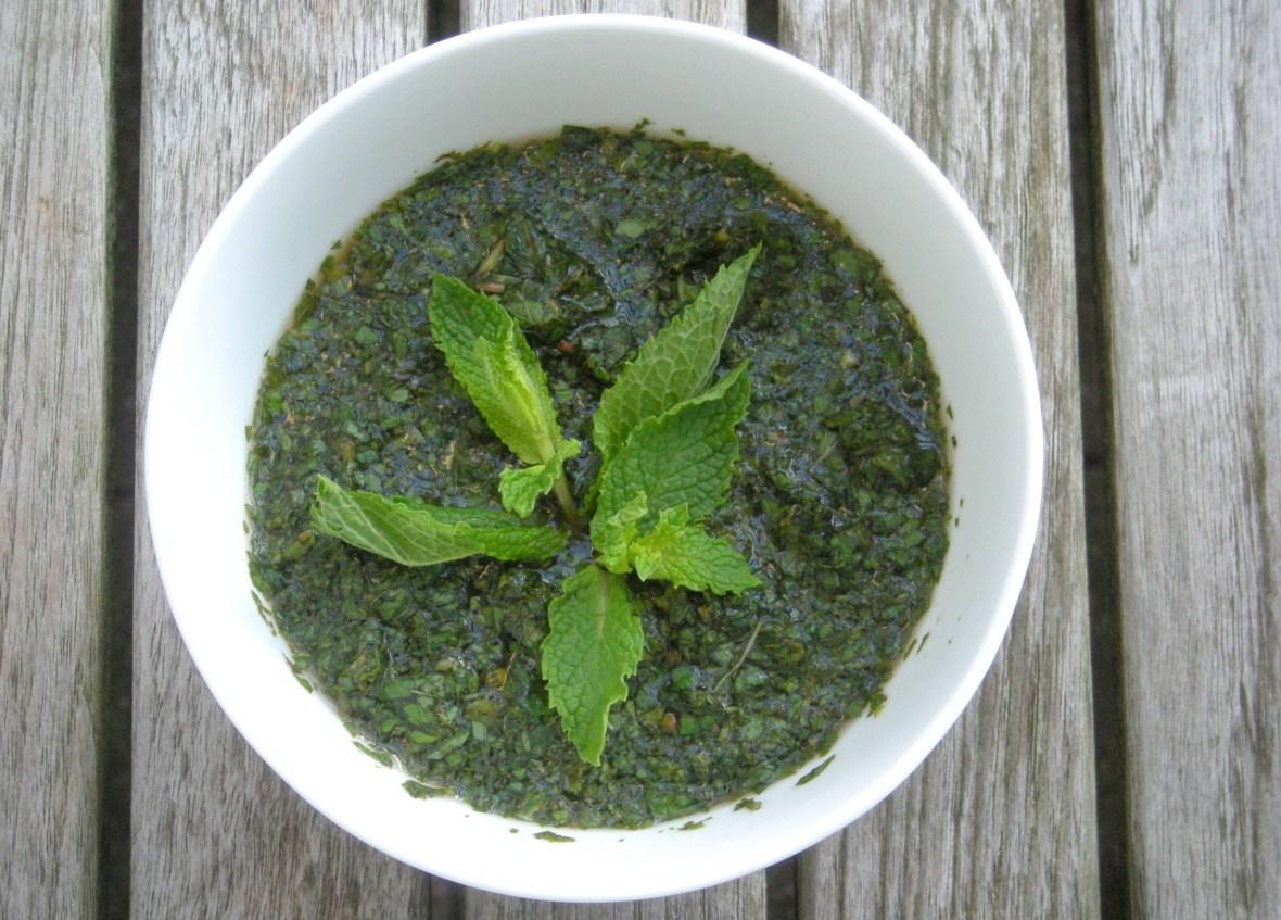 Condiments, herb sauces, English mint sauce 1
