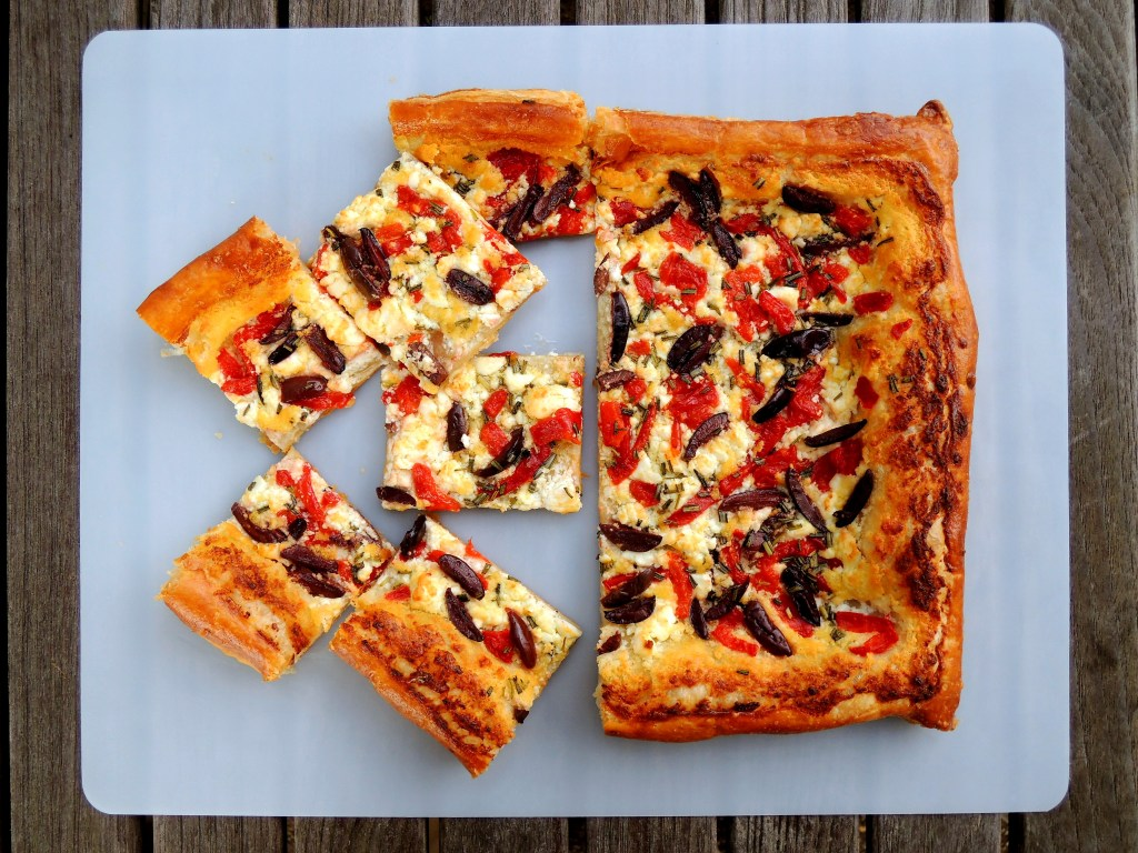 Appetizers, puff pastry, tarts, black olive, red pepper and rosemary tart 2