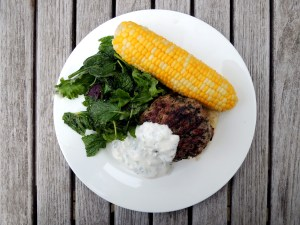 Burgers, lamb, open faced lamb burgers with raita 1