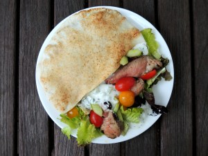 Sandwiches, lamb souvlaki sandwiches with Greek salad and tzatziki 1