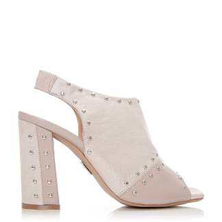 Moda In Pelle Rebecci Nude Metallic Leather