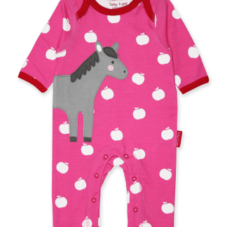 Toby Tiger Horse Applique Organic Sleepsuit