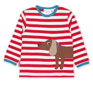 Toby Tiger Sausage Dog Applique LS Organic T-Shirt