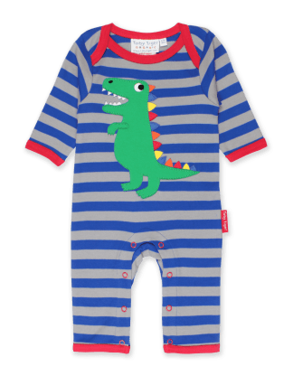 Toby Tiger Trex Applique Organic Sleepsuit