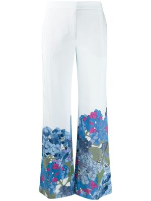 Ivory And Blue Floral Pants
