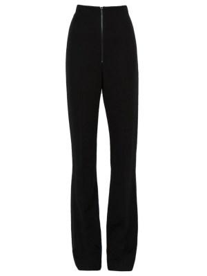 High Waist Zip Front Slim Trousers