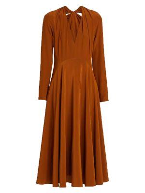 Silk Bow Back Long Sleeve Dress