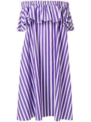 Purple Striped Off-shoulder Dress
