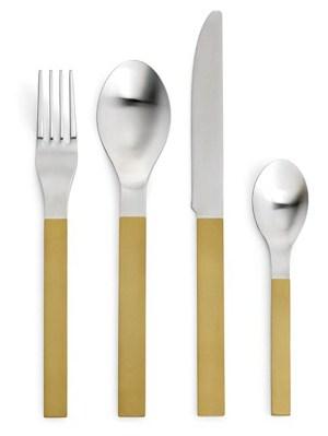 16 Piece Brass Cutlery Set Gold