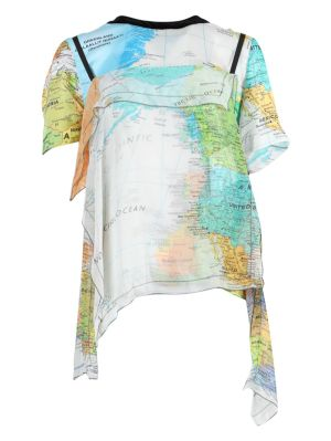 Multicolored World Map Print Blouse