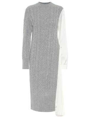 Grey And Ecru Wool Knit Dress