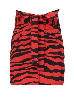 Red And Black Animal Print Skirt
