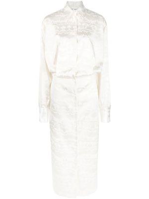 Blurred Jacquard Midi Dress, White