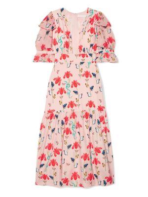 Dahlia Printed Crepe De Chine Midi Dress