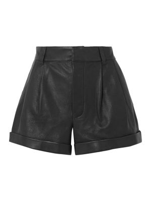 80s Pleated Leather Shorts Black