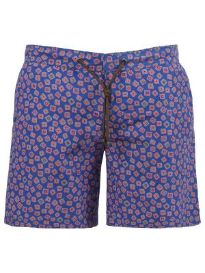 X Charvet Multicolor Square Print Swim Shorts, Blue