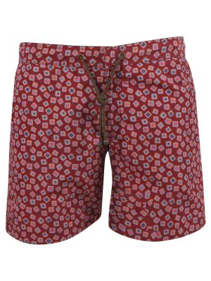 X Charvet Multicolor Square Print Swim Shorts, Red