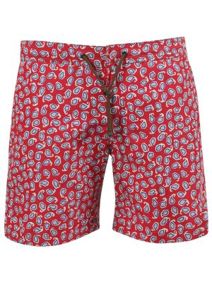 X Charvet Paisley Print Swim Shorts, Red