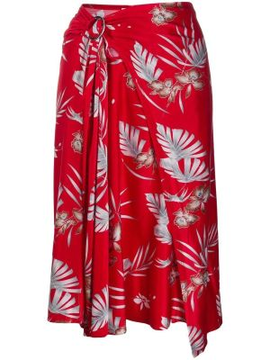 Red Floral Draped Midi Skirt