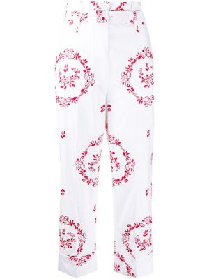 White And Red Embroidered Pants