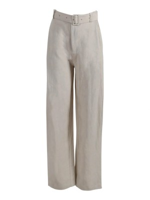 Taupe High-waisted Belted Pants