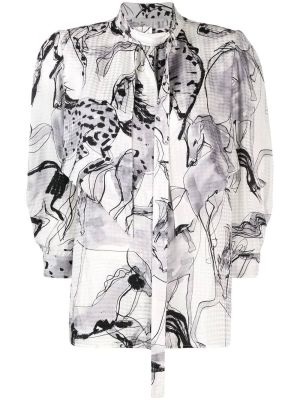 Grey Horse Print Blouse