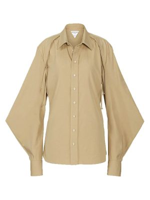 Sand Puff-sleeve Buttoned Blouse