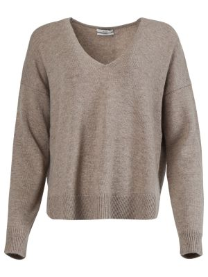 Relaxed Taupe V-neck Sweater
