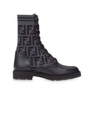 Logo Combat Boots Black And Grey