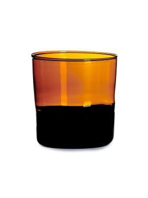 Amber And Black Water Glass